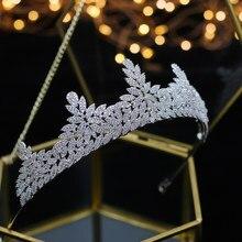 ASNORA Brillante completo circon novia Tiaras coronas boda cristal plateado cintas para el cabello accesorios joyeria regalos de cump