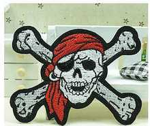 Free shipping (10pc/lot) Skeleton pattern 3d embroidery patch iron on patches garment appliques diy