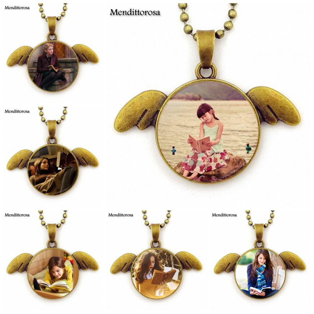 New Brand Jewelry With Glass Cabochon Choker Long Bronze Angel Wings Pendant Necklace For Girls Gift Girl Read Books
