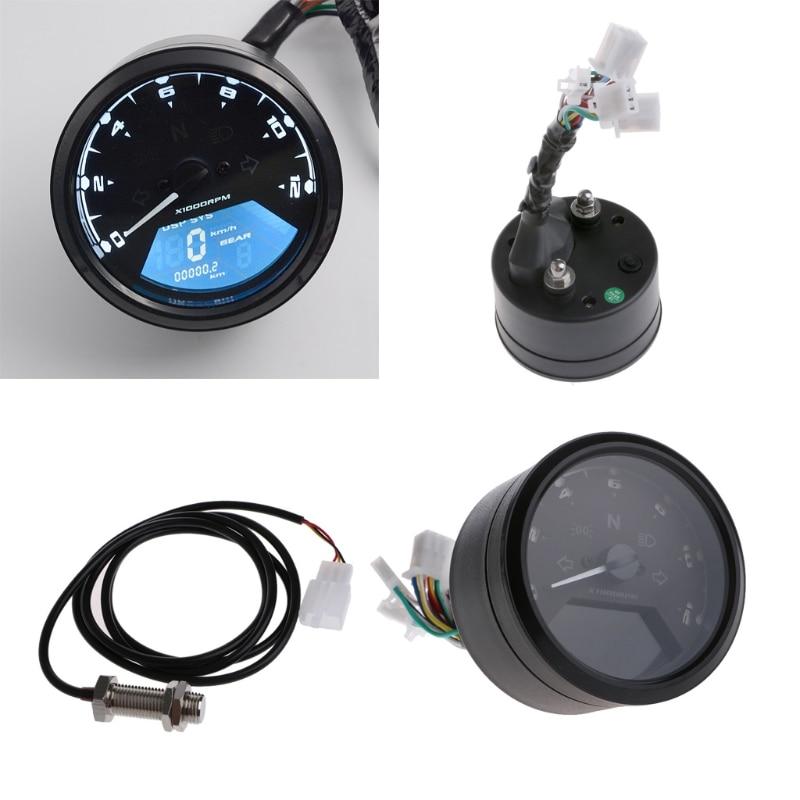 Universal Motorcycle Digital Speedometer LCD Backlight Odometer Tachometer Gauge Motorbike 12000RPM Alarm Function for Honda
