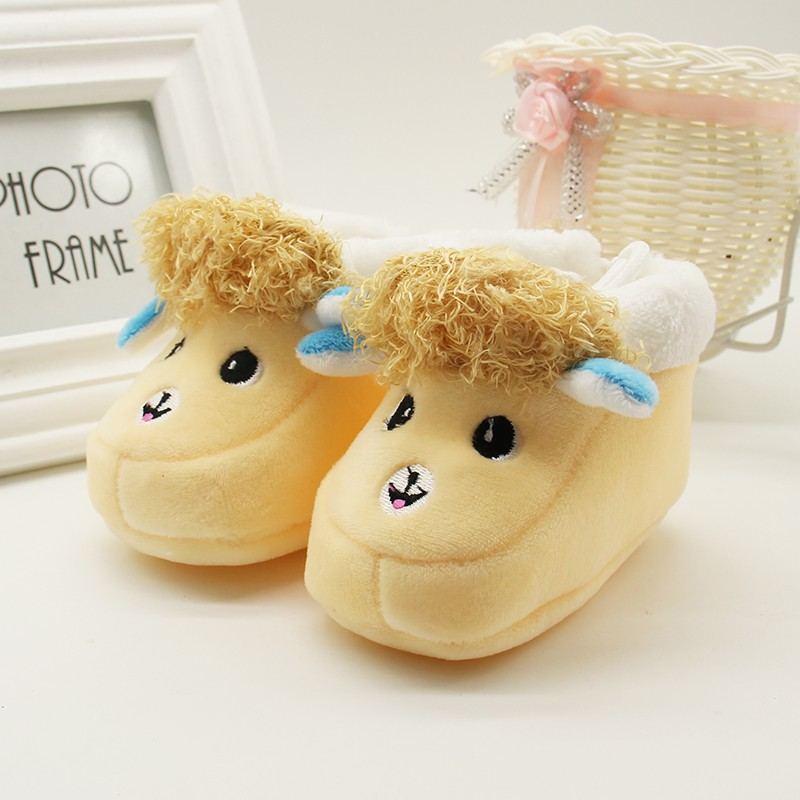 1 Pair Cartoon Winter Baby Shoes Alpaca Soft Bottom Non-slip Warm Boots Toddler Newborn Boys Girls First Walkers 6-12 Months 4