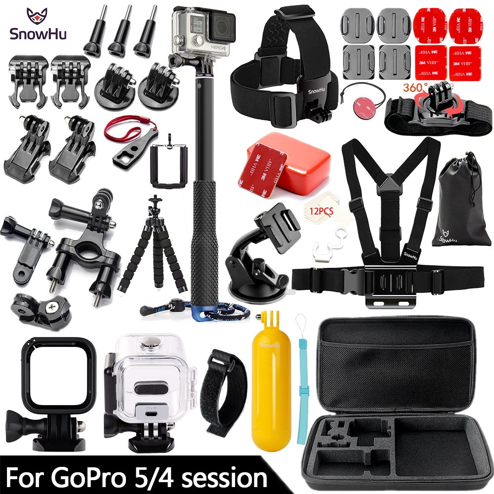 цена на SnowHu for Gopro Hero 5 / 4 Session Accessories Set Tripod 3 Way Monopod for Go pro hero 5 Session 4 Session Action Camera GS70