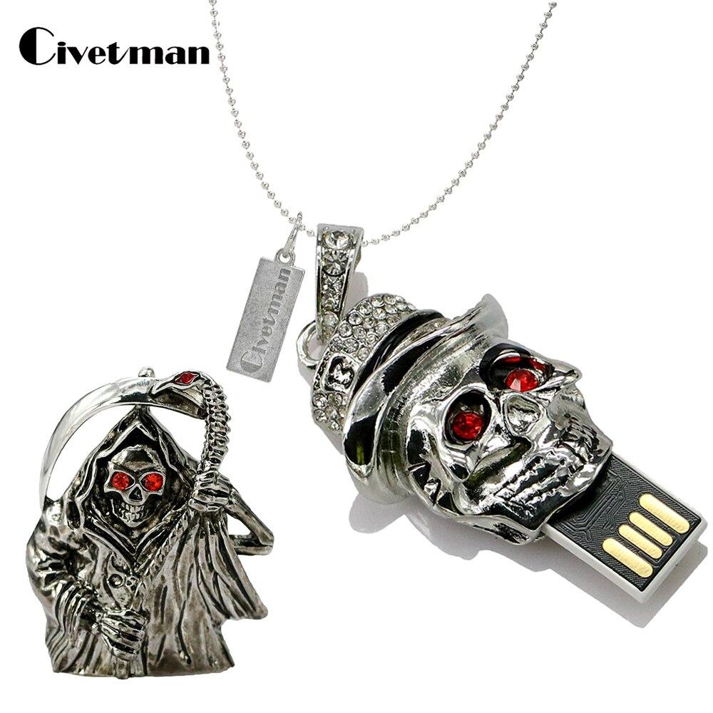 Metal Pen Drive 4GB 8GB 16GB 32GB Crystal Death Skull Head Skeleton Shape USB 2.0 Flash Drive Pendrive Memory Stick Disk Gifts