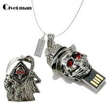 Металлическая ручка привода 4 ГБ 8 ГБ 16 ГБ 32 ГБ хрустальный череп головка в форме скелета флеш-диск USB 2,0 Флешка карта памяти диск подарки
