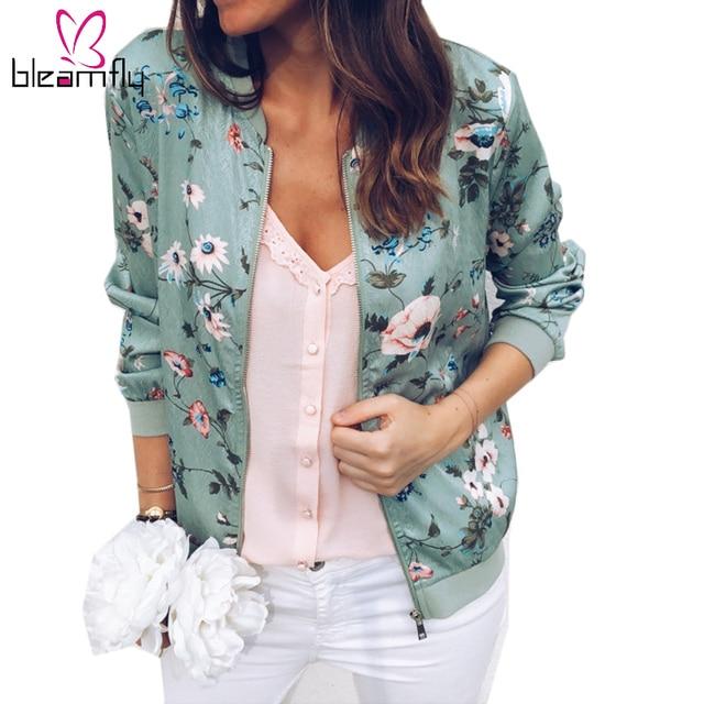 58ef291f9 US $13.24 47% OFF|New Ladies Vintage Flower Print Bomber Jacket Women  Autumn Long Sleeve Casual Tops Zipper Jackets Outwear Loose Tops Basic  Coat-in ...