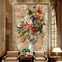 цена на large size 3D Embossed wallpaper mural TV background wall canvas wallpaper Living room Vase painting wall covering customize