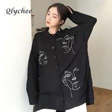Qlychee одежда блузка женская одежда Уход за кожей лица рубашка с принтом отложной воротник Топы с длинными рукавами элегантная Удлиненная блузка рубашка