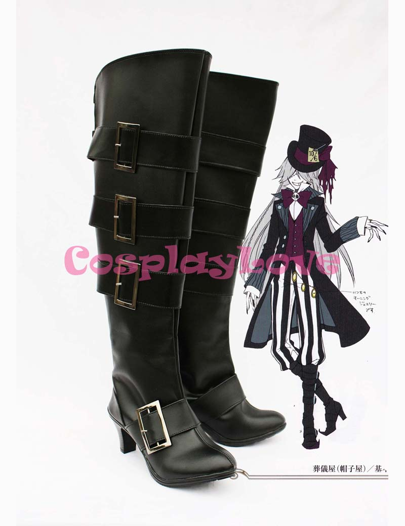 ᗕcustom Made Black Butler Sebastian Undertaker High Heel Cosplay