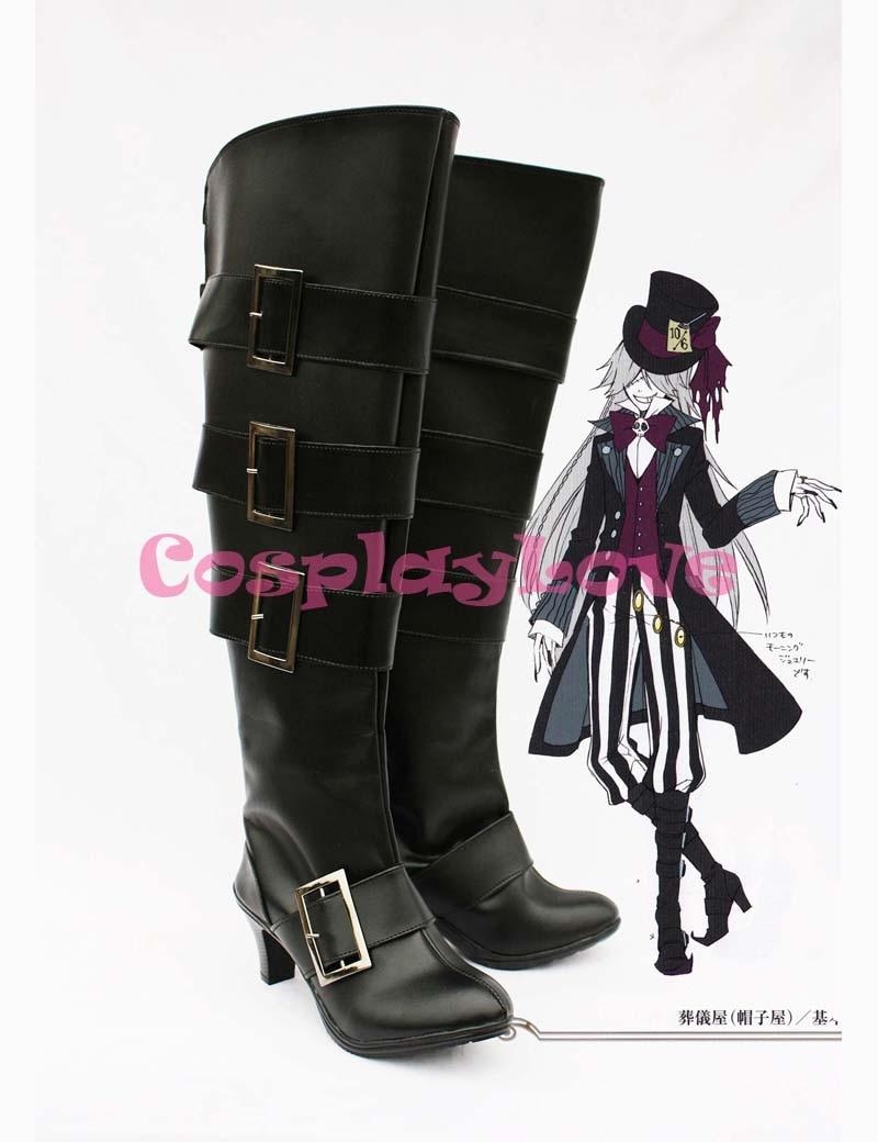 Custom Made Black Butler Sebastian UnderTaker High Heel Cosplay Boots Shoes For Christmas Halloween CosplayLove
