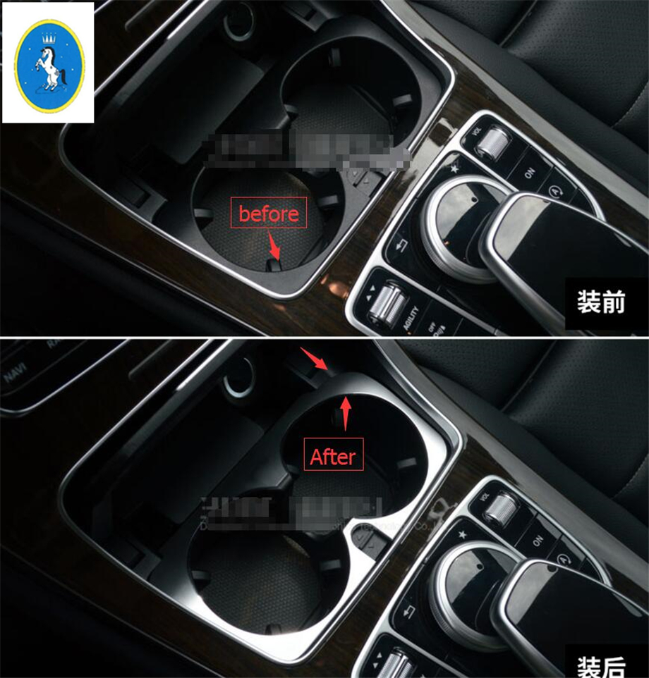Water Cup Holder Decoration Trim Cover For Benz C Class W205 2014-2015 Silver PP