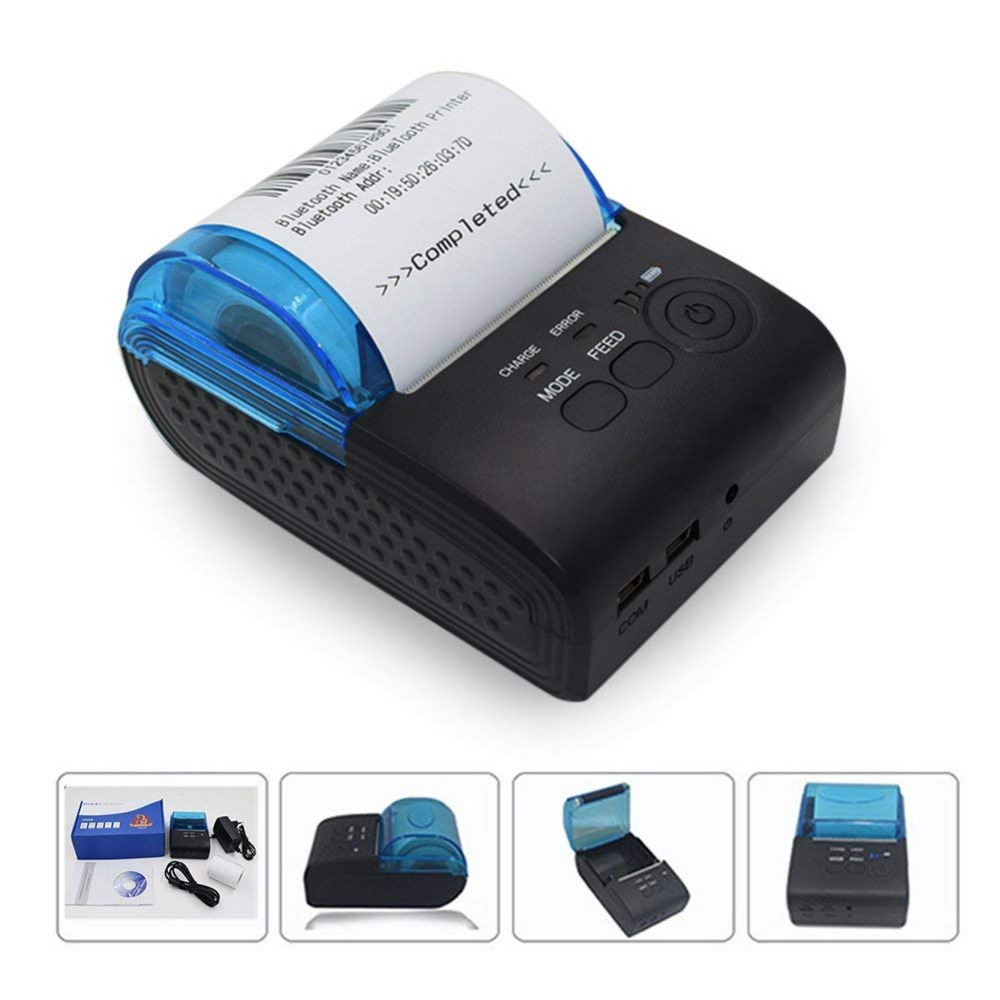 58mm thermal printer Bluetooth Android Thermal Printer POS Receipt Printer Bill Machine For Supermarket Portable Printer GZM5802 new hot thermal printer 5890t supermarket takeaway intelligent bluetooth food and beverage printer 90mm s 57 5 0 5mm 220v