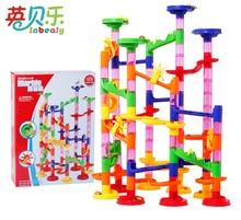 105 pcs Mármore Corrida Corrida Bolas Labirinto Jogo Faixas De Plástico de Construção Montagem Conjunto de Construção De Brinquedos Educativos para Crianças Presente