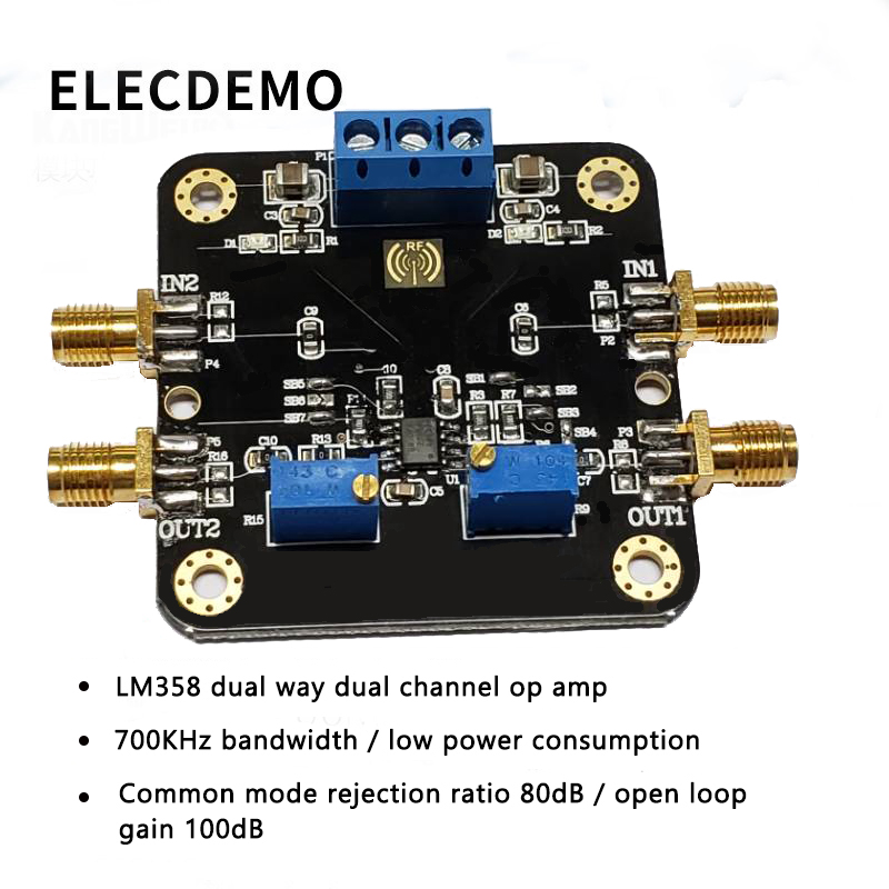 LM358 Module Operational Amplifier Module Dual Dual Channel 700k Bandwidth Low Power SMA Input and Output Function demo Board-in Demo Board Accessories from Computer & Office