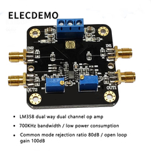 LM358 Module Operational Amplifier Module Dual Dual Channel 700k Bandwidth Low Power SMA Input and Output Function demo Board цены