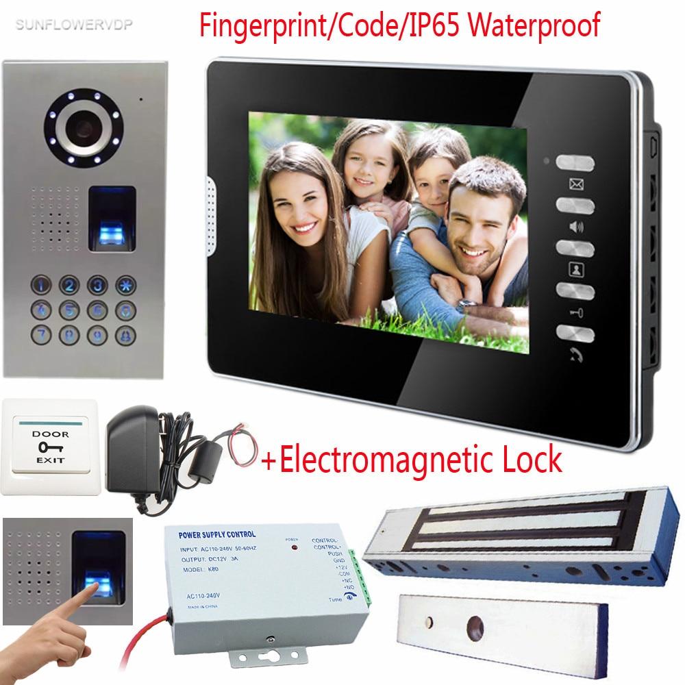 Fingerprint Keypad Video Intercom For Private House Door Bell IP65 Waterproof Video Call Color 7 TFT Lcd+Electromagnetic Lock xeltek private seat tqfp64 ta050 b006 burning test