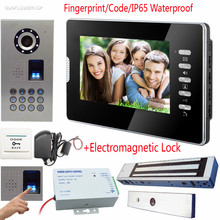Fingerprint Keypad Video Intercom For Private House Door Bell IP65 Waterproof Video Call Color 7″ TFT Lcd+Electromagnetic Lock