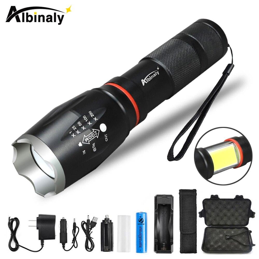 Albinaly Multifonction LED lampe de poche 8000 Lumens T6 L2 torche caché COB conception lampe de poche queue super aimant conception camping lampe
