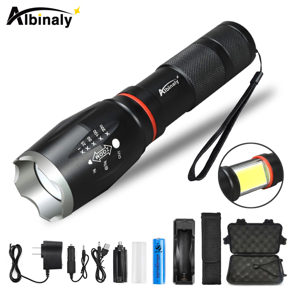 Albinaly Multifunction Led flashlight 8000 Lumens CREE XML T6 L2 torch hidden COB design flashlight tail super magnet design