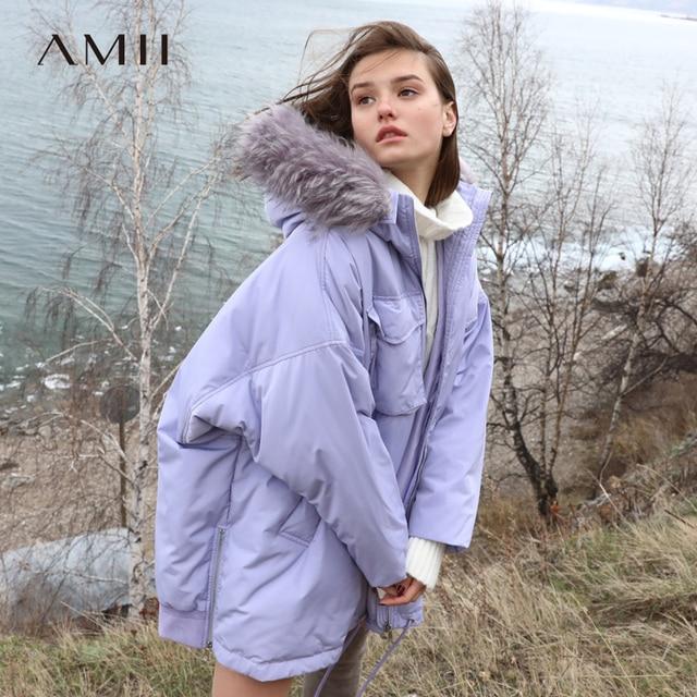Amii минималистский пуховик зима для женщин 2018 элегантный дизайн сплошной большой меховой воротник с капюшоном на молнии теплые женские длинны