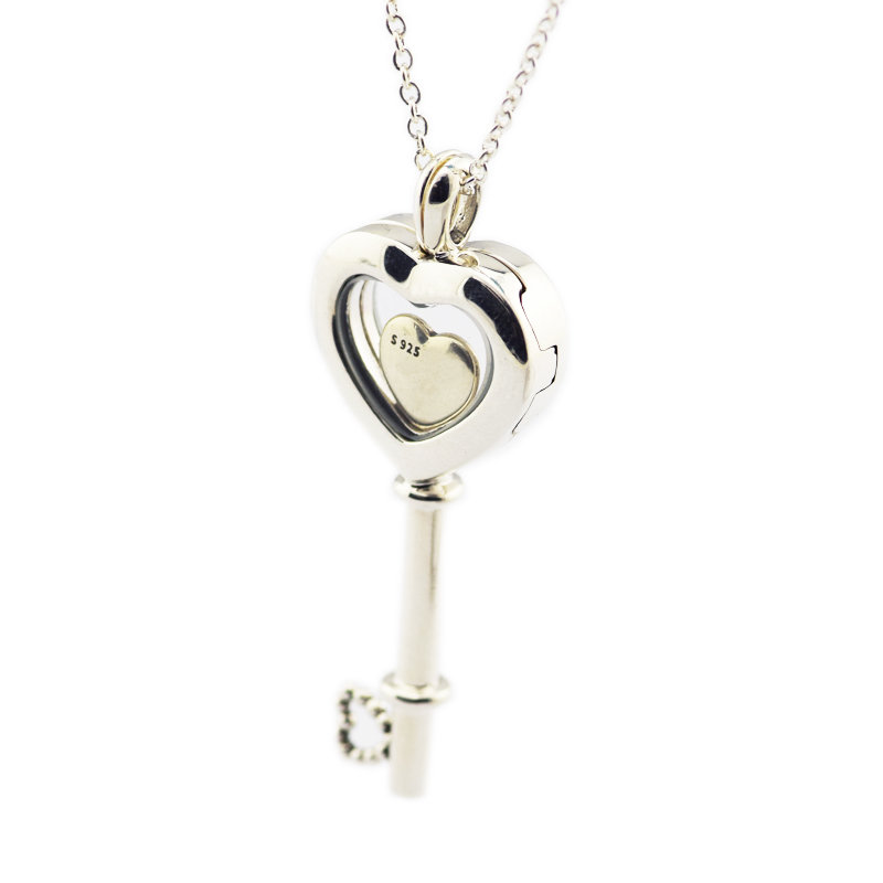 f836fb18d 100% 925 Sterling Silver Floating Locket Heart Key Necklace, Sapphire  Crystal & Clear CZ with Petite Beads for Women Diy PFN053C-in Necklaces  from Jewelry ...