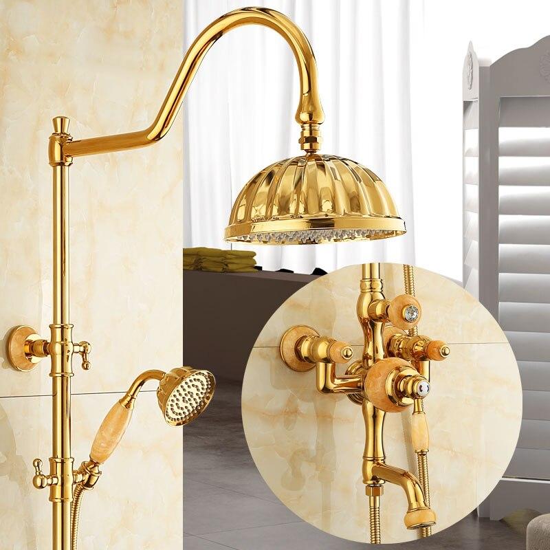Ensembles de douche en or et jade en Europe robinet de douche salle de bain chaude et froide à température constante quatre stands tous les robinets de mélangeur en cuivre