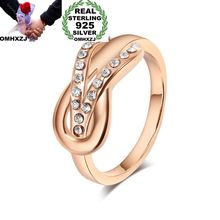 цена OMHXZJ Wholesale European Fashion Woman Man Party Wedding Gift AAA Zircon 925 Sterling Silver 18KT Yellow Rose Gold Ring RR415