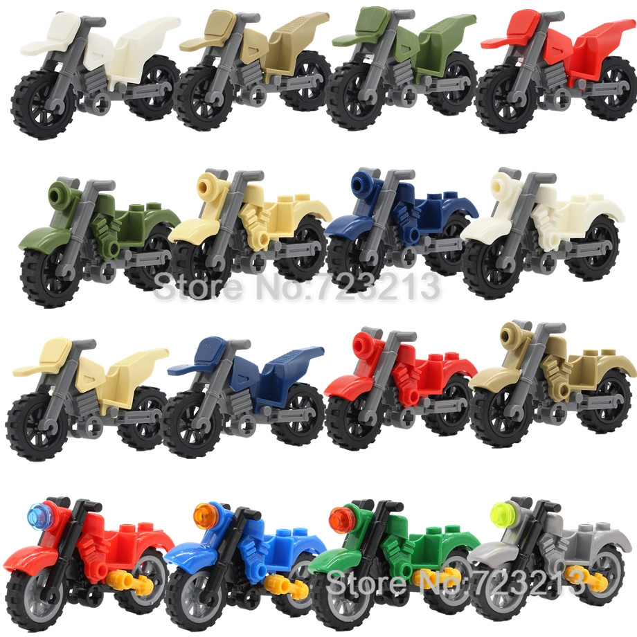 Single Harley Moto Blocks Vehicles Motorcycle Accessories MOC Parts Military SWAT City Building Blocks Model Toys for Children image