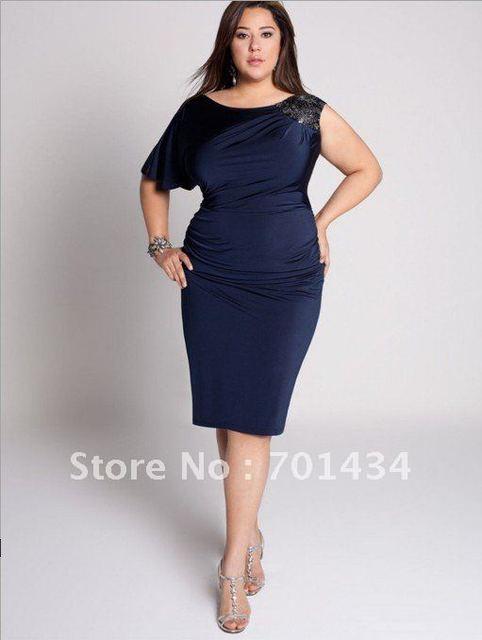 One Shoulder Sleeves Navy Knee Length Mother Evening Dress Scoop ...