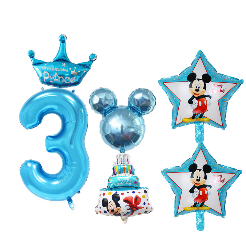 6pcs Set Pink Blue Baby 3 Years Old Birthday Balloons Digital Foil For Boy Girl Happy Party Decoration In Ballons Accessories From