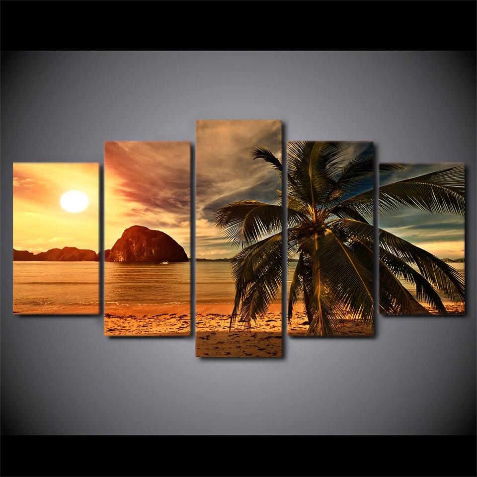 Pinturas de la lona HD imprime 5 unidades playa tropical Palm ...