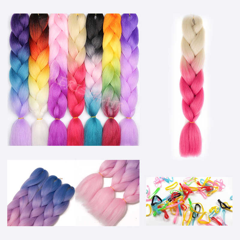 Pelo LISI trenzas de ganchillo sintéticas en pelo trenzado Jumbo una pieza 24 pulgadas 100 g/pcs Color puro en extensiones de cabello