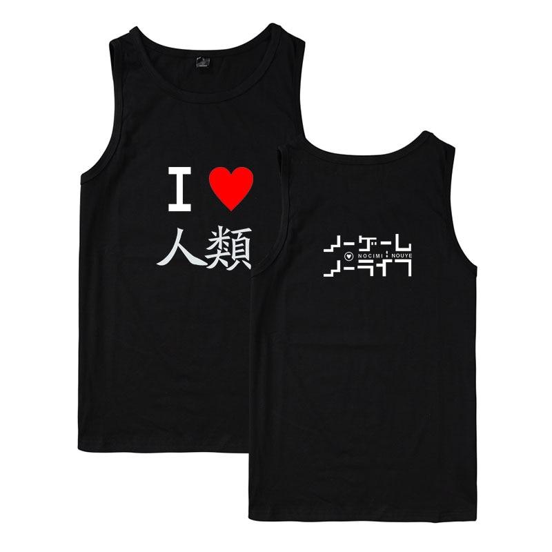 NO GAME NO LIFE reflective safety vest lace tank top NO GAME NO LIFE t-shirts for men tank top men bodybuilding