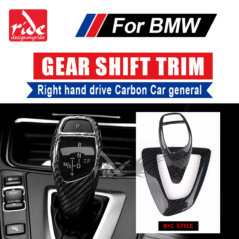 For BMW F01 F02 F03 F04 G11 G12 733i 735i 740i Universal Right hand drive Carbon Fiber car Gear Shift Knob Cover trim B+C Style