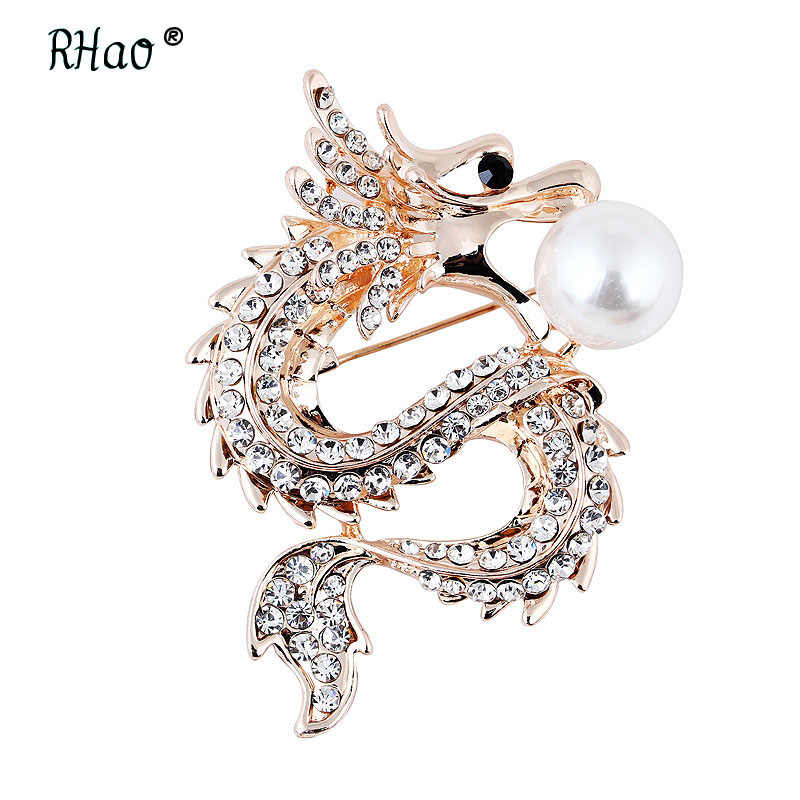 f17ce53193c vintage China Dragon Brooches Crystal Men's Suit Pin Corsage Animal Brooch  Pin Women's Jewelry Kids clothes