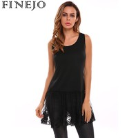 Finejo Casual Women Pullover Vest Tank Top Lace Patchwork Shirt Extender Sleeveless O Neck Pullover Spring