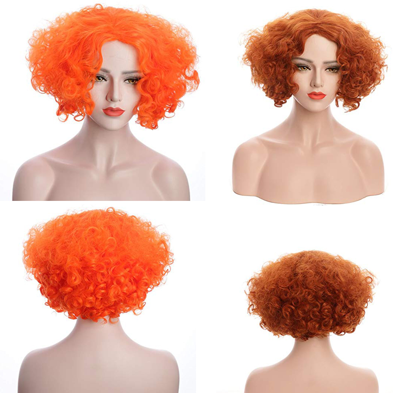Alice in Wonderland 2 Mad Hatter Tarrant Hightopp Orange Cosplay Wig Short Curly Hair Role Play Halloween + Wig Cap