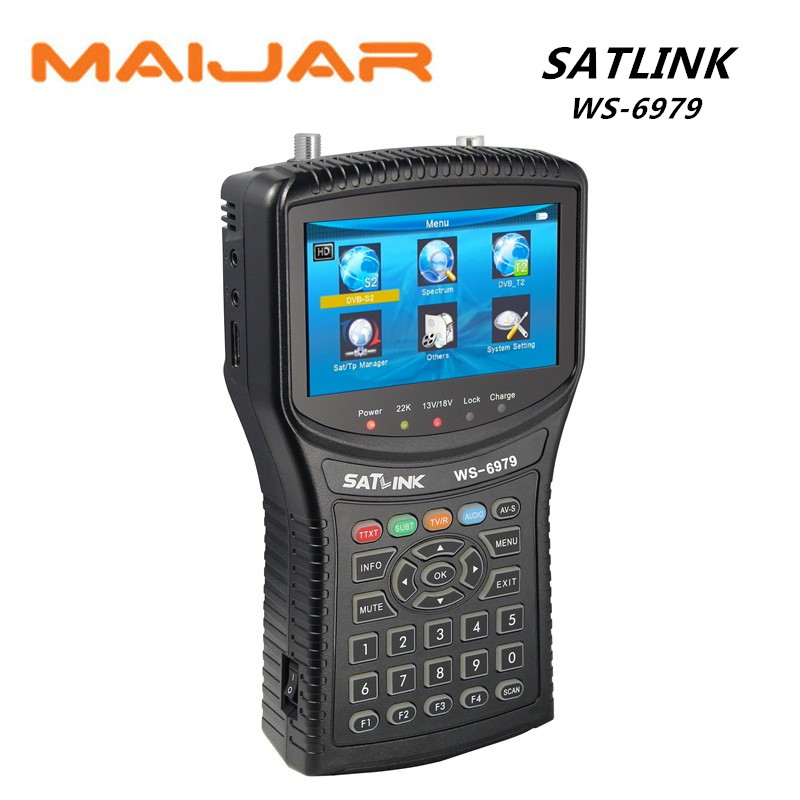1pc Satlink WS-6979 DVB-S2&DVB-T2 Combo digital satellite finder meter Spectrum analyzer constellation satellite meter finder anewkodi original satlink ws 6906 3 5 dvb s fta digital satellite meter satellite finder ws 6906 satlink ws6906