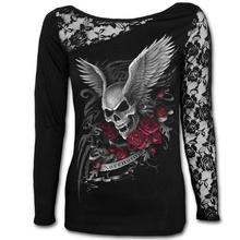 Punk Style Women T-Shirt Black Sexy Skull Print Long Sleeve Lace Patchwork Tee Tops Flower Pullovers Cool Women Clothing LJ7915E