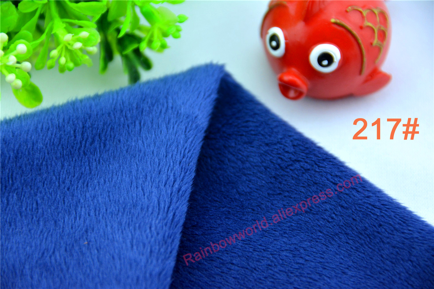 217# deep blue color Super soft short hair 2-3mm Fleece Fabric velvet microfiber velboa for DIY patchwork toy shoes sofa pillow
