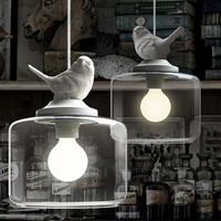 Child Real Cartoon Pendant Light Fashion Bedroom Bedside Lamp Brief Rustic Lighting Lamps With White Resin Bird