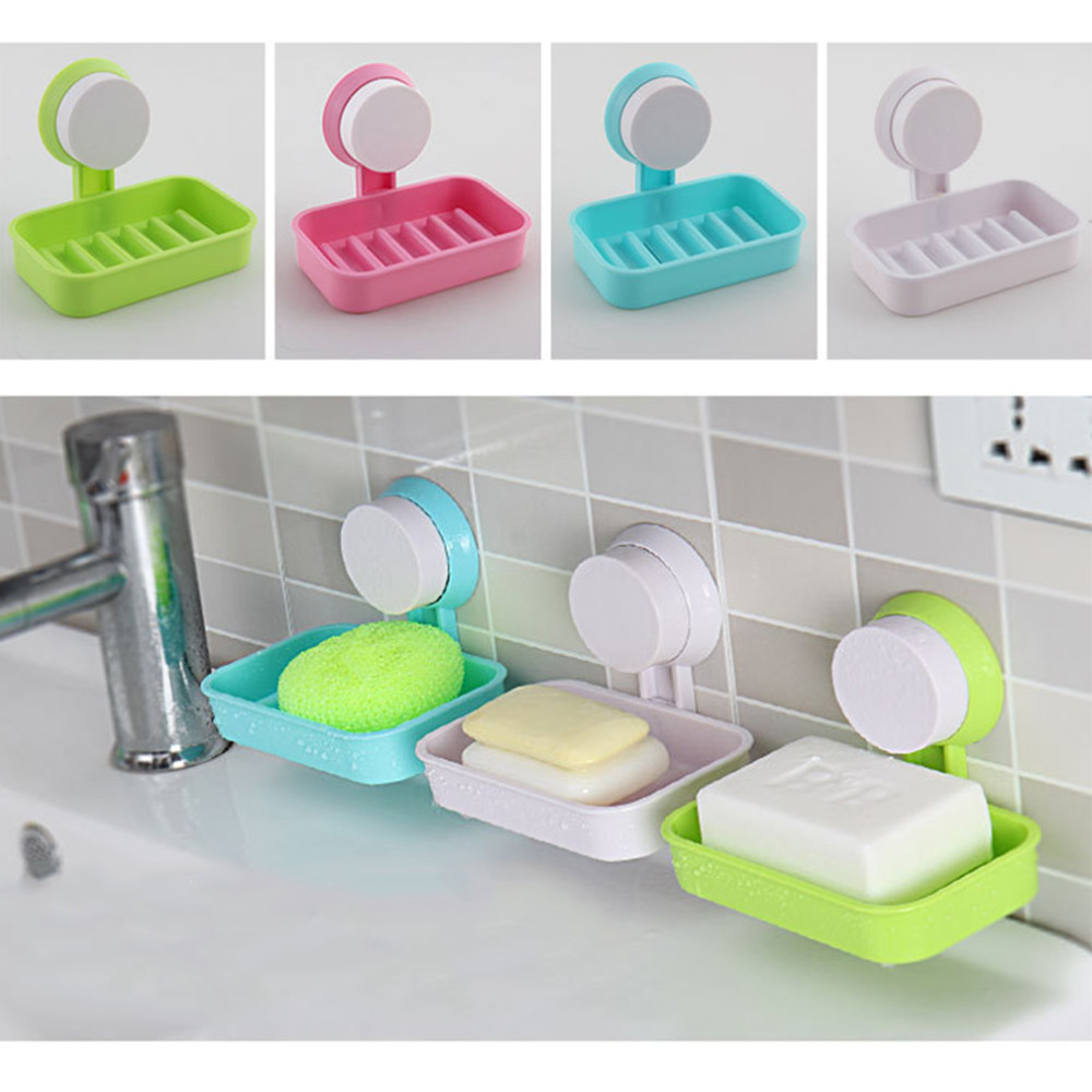 Plastic Suction Cup Soap Storage Box Dish Holder Bathroom Shower Kitchen Supply