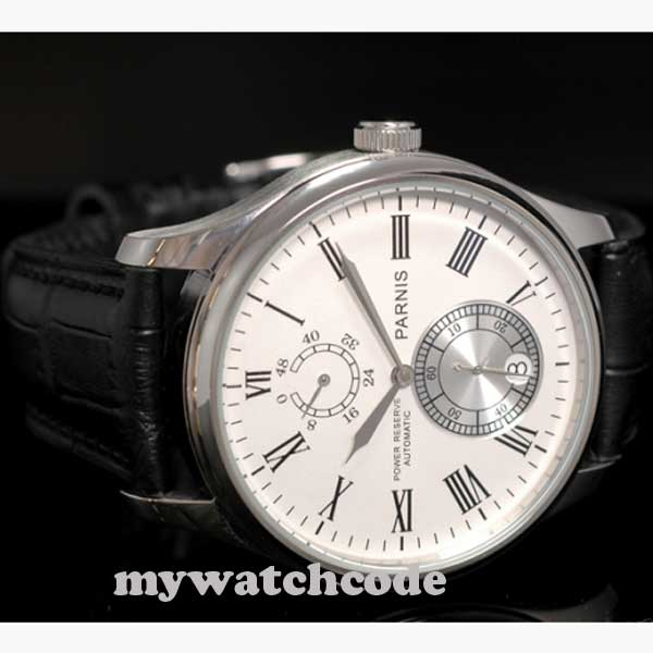 цена на 43mm parnis white dial power reserve automatic Chronometer mens ss watch P199