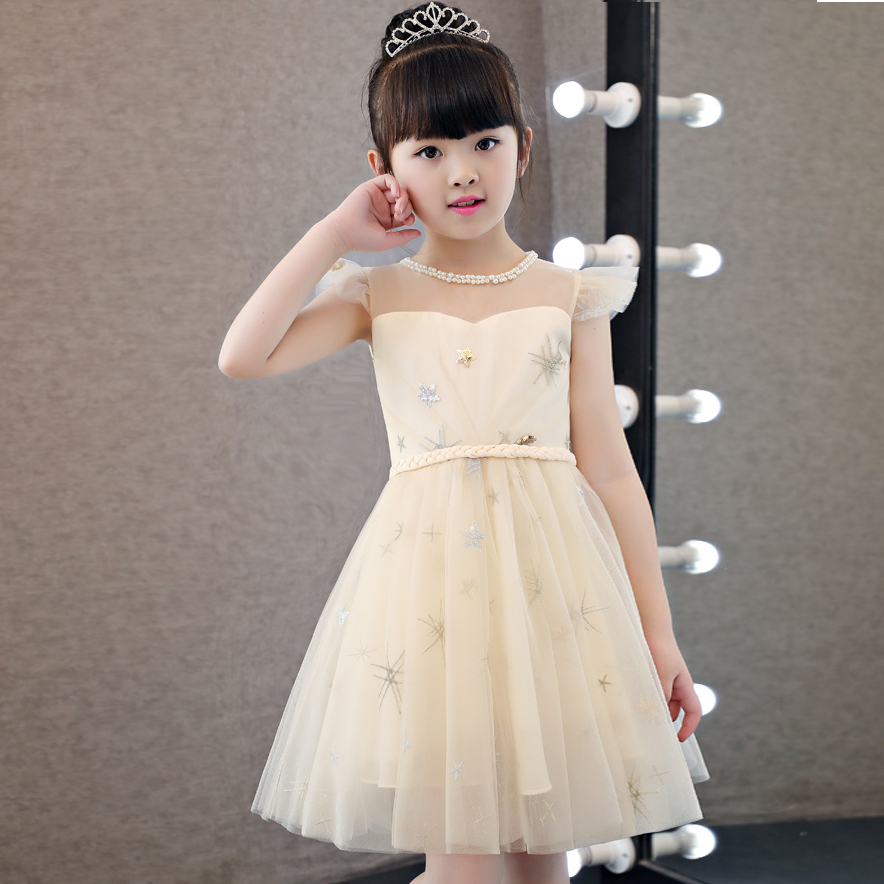 2017 New Korean Sweet Girls Children Princess Dress Kids Beautiful Round Collar Birthday Wedding Party Wear Dress Costume Dress данкова регина е умные зверики