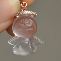 Cute little fresh love marriage Fuxing Guardian Angel Baby natural peach blossom lotus powder pendant clearance