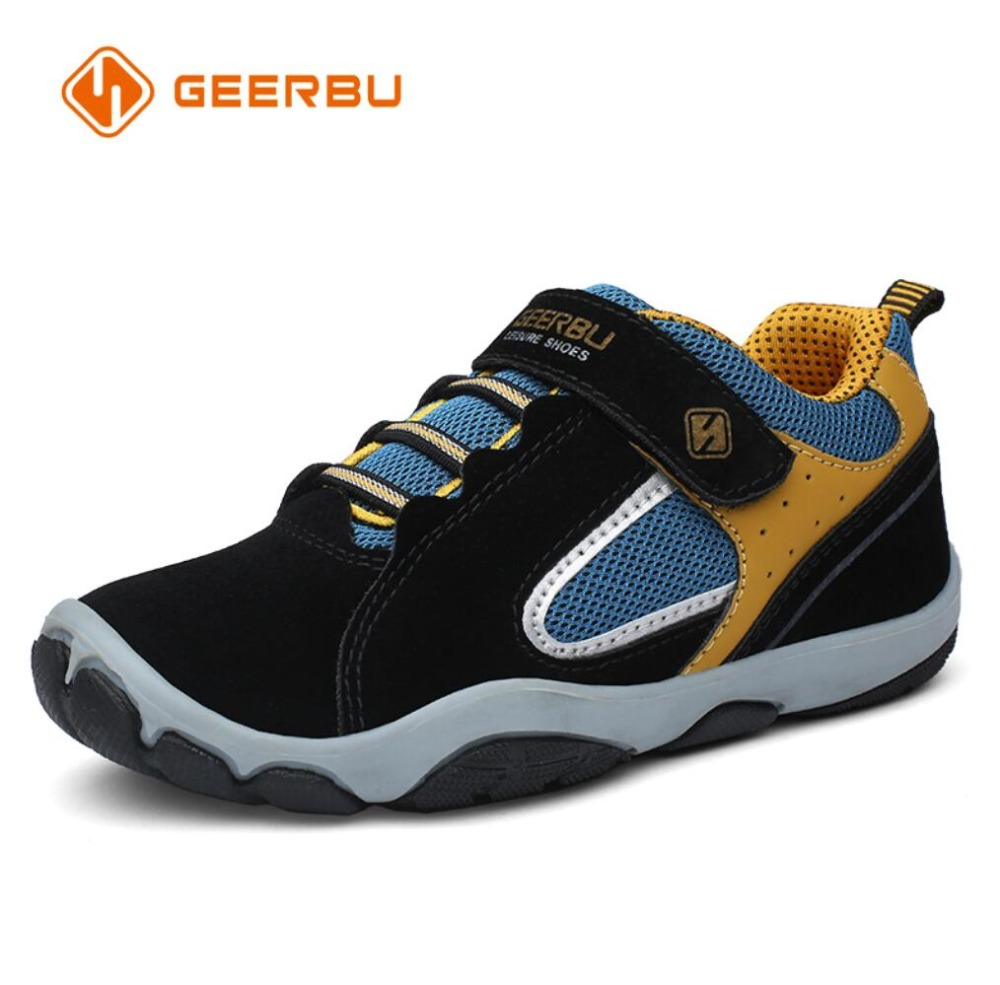 GEERBU Children Outdoor Shoes Light-weight Leather Girls Boys Sport Sneakers Kids Wear-resisting Anticollision Casual Shoes
