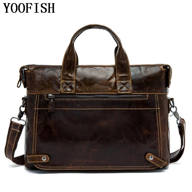 YOOFISH  Genuine Leather Bag Casual Men Handbags Cowhide Men Crossbody Bag Mens Travel Bags Laptop Briefcase Bag for ManYOOFISH  Genuine Leather Bag Casual Men Handbags Cowhide Men Crossbody Bag Mens Travel Bags Laptop Briefcase Bag for Man