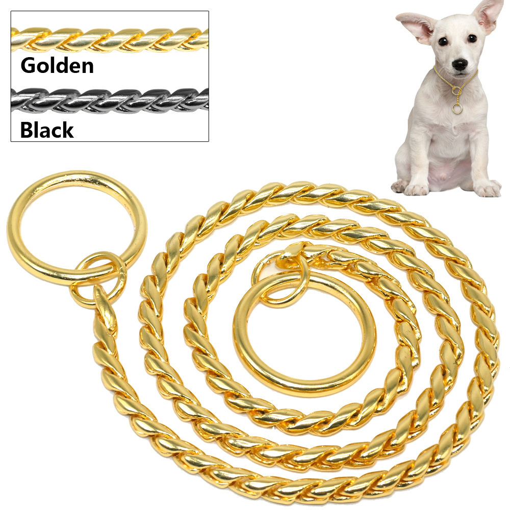 Cadeia de cobra Dog Show Collar Heavy Metal Dog Training Choke Collar Strong Cromo ou Ouro 3mm 4mm 5mm