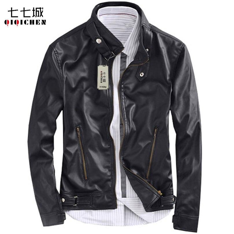 <font><b>Black</b></font> Leather Jacket Men Motorcycle Stand Collar Fashion Korean Classic Blouson Simili Cuir Homme <font><b>Bomber</b></font> Jackets Men Veste Homme