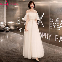 Charming O Neck Robe De Soiree 2019 Evening Dress Long Prom Party Dress A Line Lace Up Back Tulle Special Occasion Dresses
