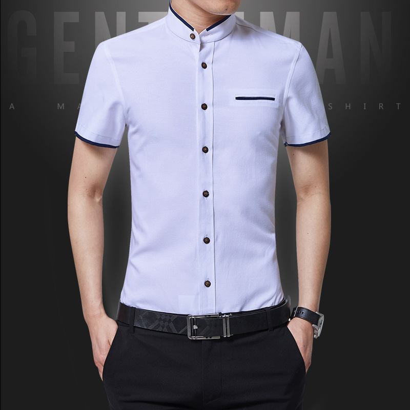 2018 New Arrival Brand Mens Summer Business Shirt Short Sleeves Turn-down Collar Tuxedo Shirt Shirt Men Shirts Big Size 5XL